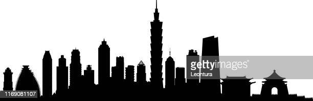 taipei skyline (all buildings are complete and moveable) - taiwan stock illustrations