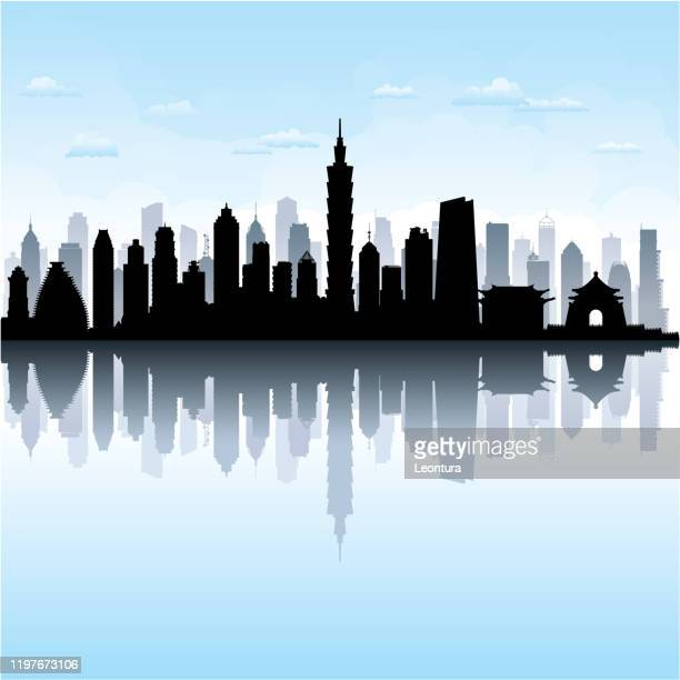 taipei skyline (all buildings are complete and moveable) - taipei stock illustrations