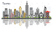 Taipei Taiwan City Skyline with Gray Buildings Isolated on White Background.
