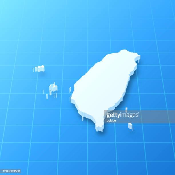 taiwan 3d map on blue background - taiwan stock illustrations