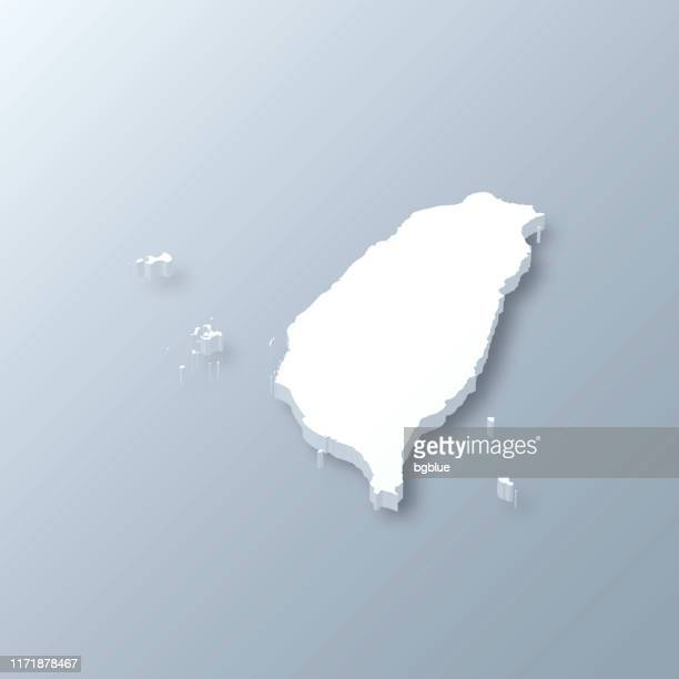 taiwan 3d map on gray background - taiwan stock illustrations