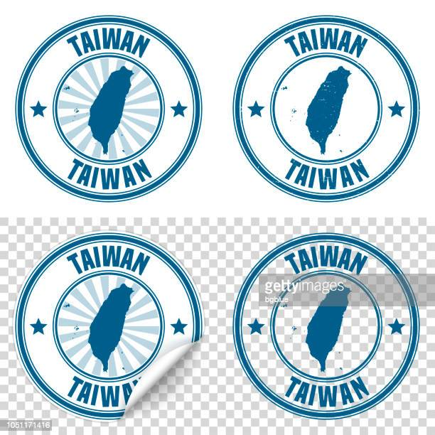 taiwan - blue sticker and stamp with name and map - taiwan stock illustrations