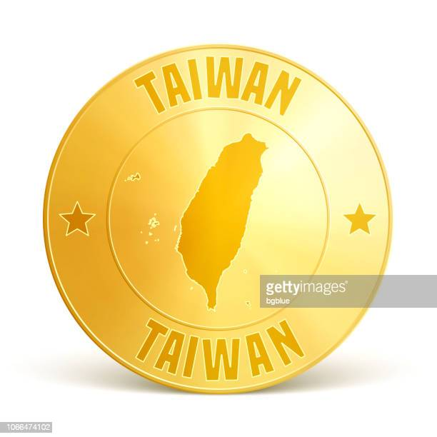 taiwan - gold coin on white background - taiwan stock illustrations