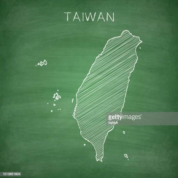 Taiwan map drawn on chalkboard - Blackboard