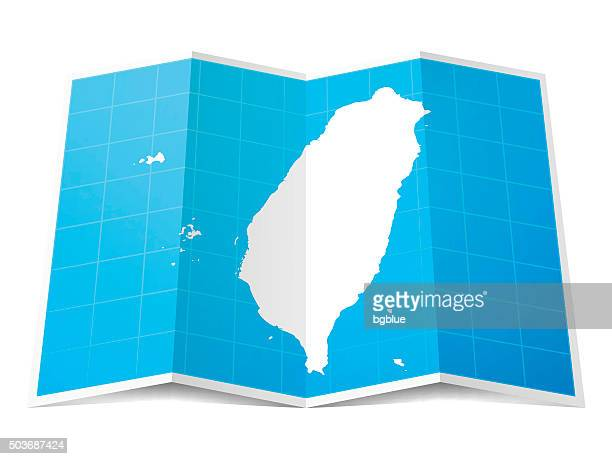 Taiwan Map folded, isolated on white Background