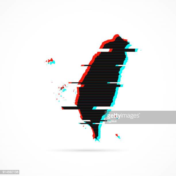Taiwan map in distorted glitch style. Modern trendy effect