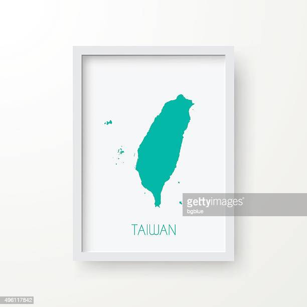 Taiwan Map in Frame on White Background