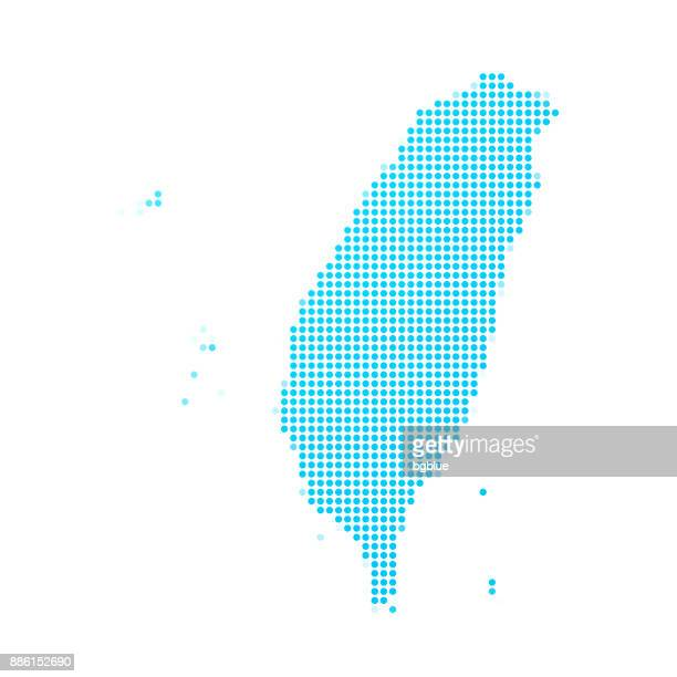 Taiwan map of blue dots on white background