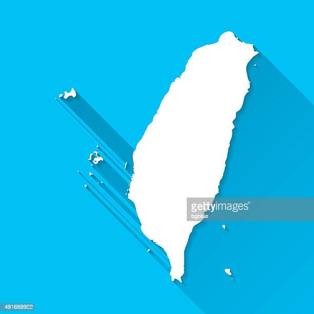 Taiwan Map on Blue Background, Long Shadow, Flat Design