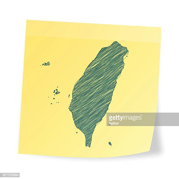 Taiwan map on sticky note with scribble effect