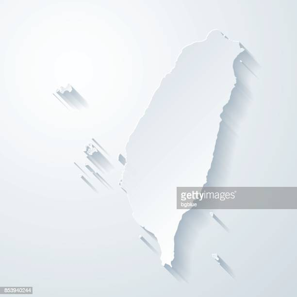 taiwan map with paper cut effect on blank background - taiwan stock illustrations