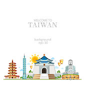 Taiwan panorama background with traditional sights of country architecture