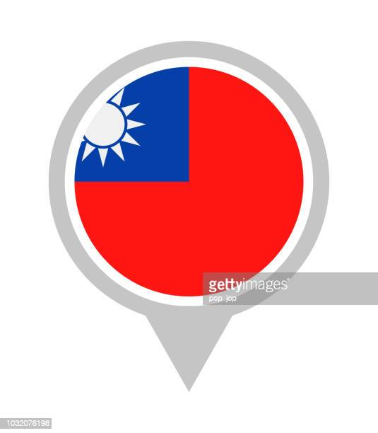 Taiwan - Vector Round Flag Pin Flat Icon