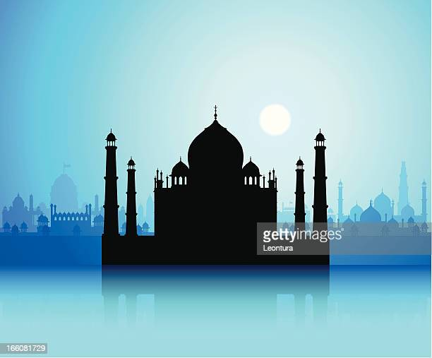 taj mahal and delhi - agra jama masjid mosque stock illustrations