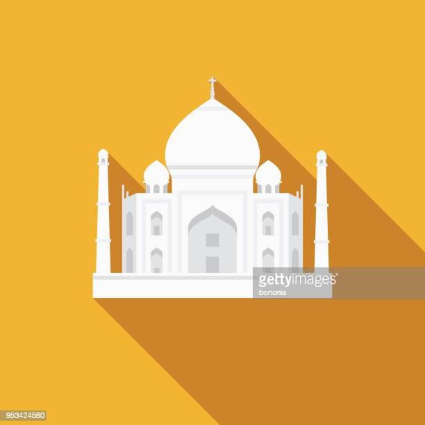 Taj Mahal Flat Design India Icon with Side Shadow