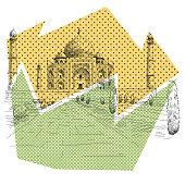 Taj Mahal hand drawn, vector illustration