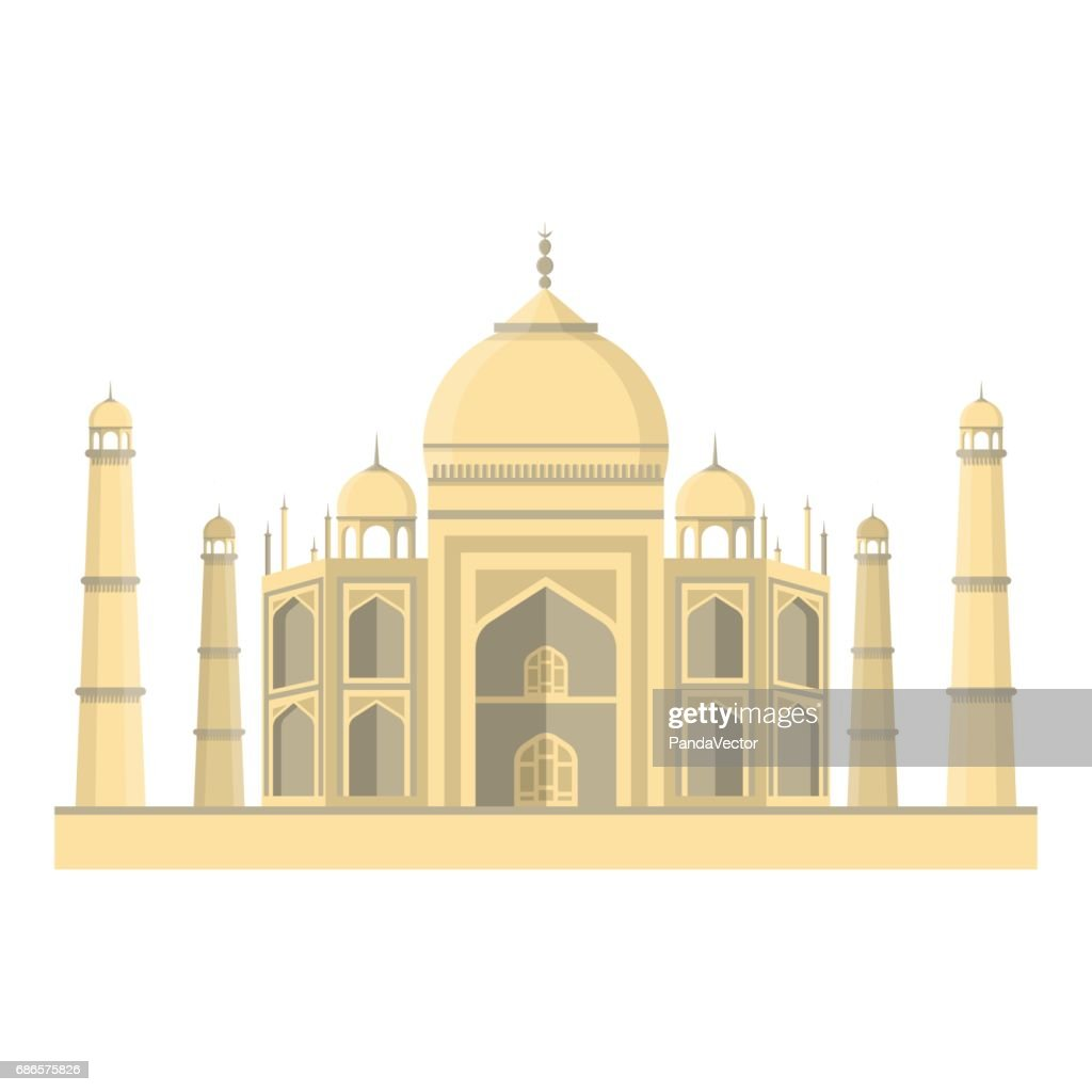 Taj Mahal icon in cartoon style isolated on white background. India symbol stock vector illustration.