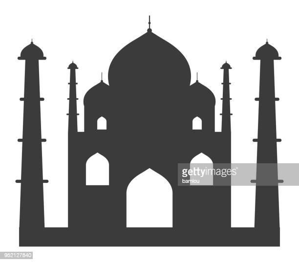 ilustrações, clipart, desenhos animados e ícones de teixeira mahal ícone - taj mahal