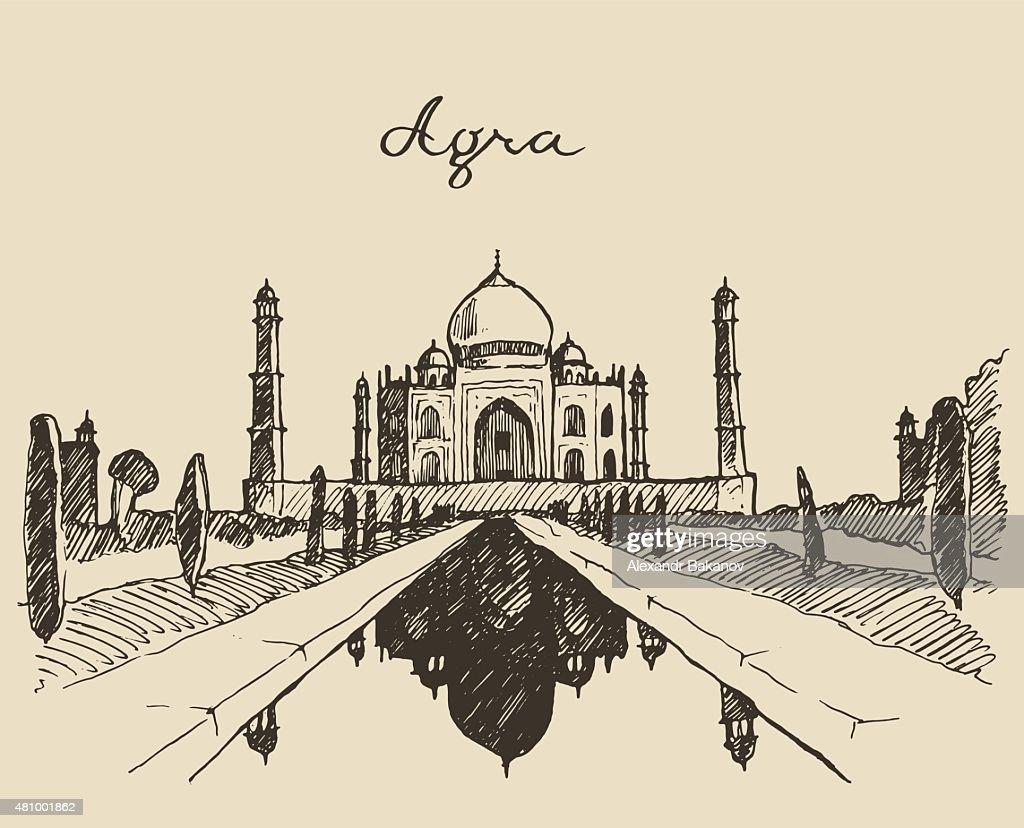 Taj Mahal located Agra Uttar Pradesh India sketch