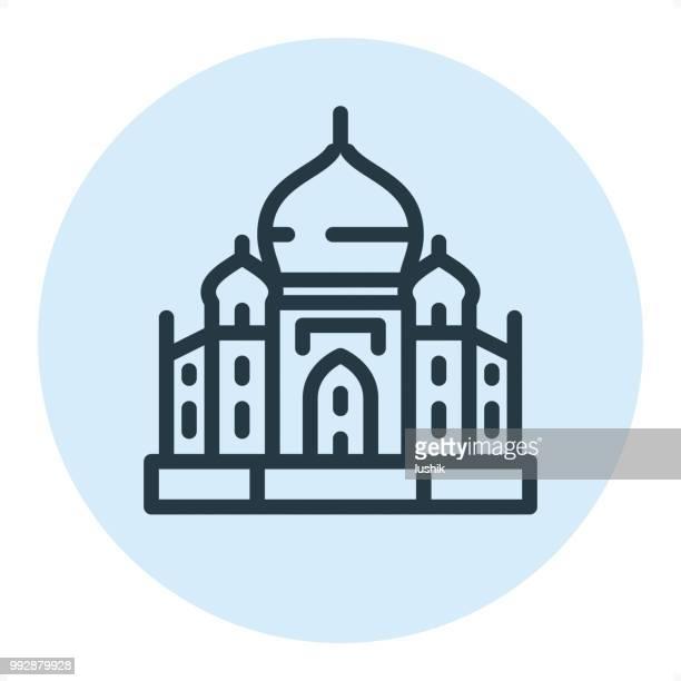 ilustrações, clipart, desenhos animados e ícones de taj mahal - pixel perfeito única linha ícone - taj mahal