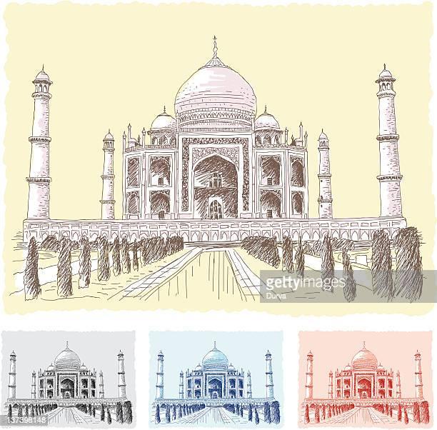 ilustrações, clipart, desenhos animados e ícones de taj mahal, rascunho - taj mahal