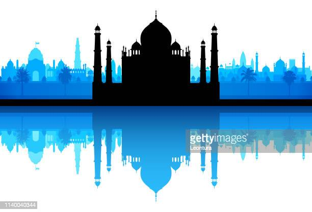 taj mahal (all buildings are complete and moveable) - agra jama masjid mosque stock illustrations