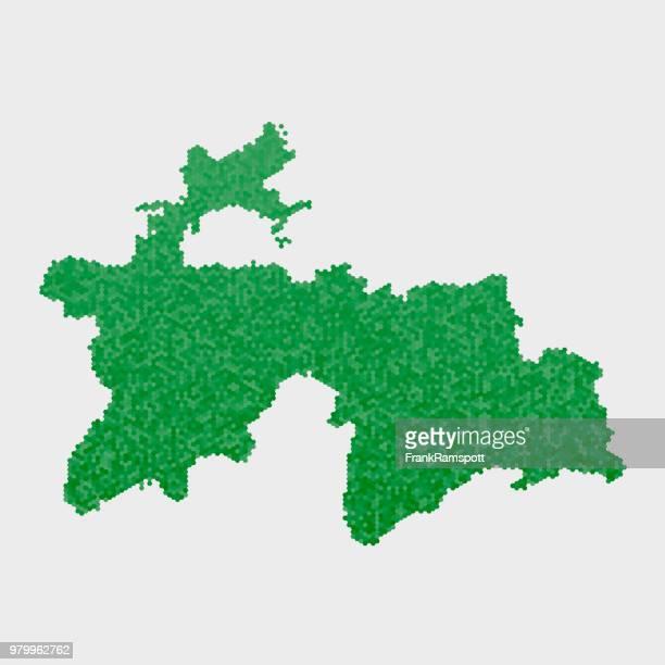 Tadschikistan-Land-Map-grünen Sechseck-Muster