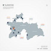 Tajikistan infographic map vector illustration.