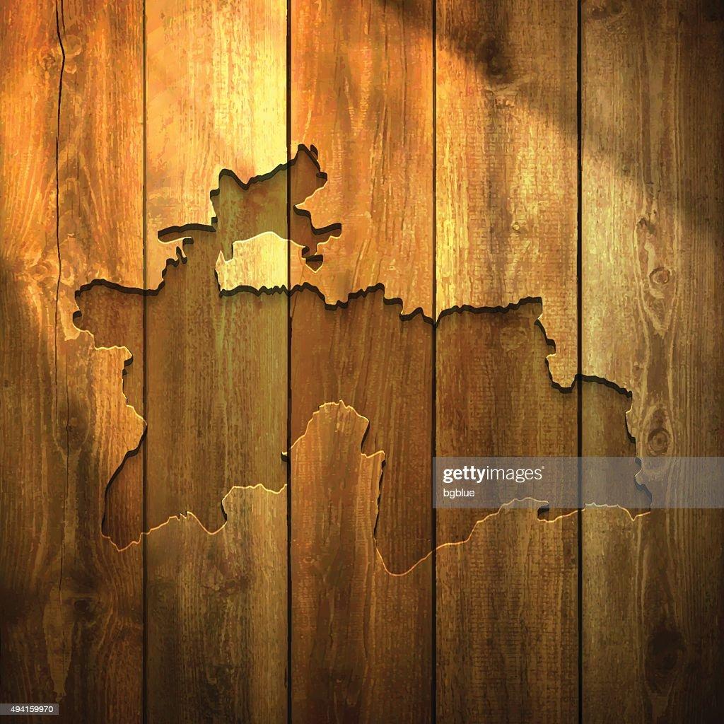 Tajikistan Map On Lit Wooden Background Vector Art Getty Images - Tajikistan map vector