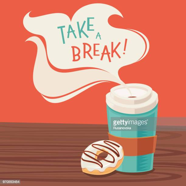 take a break! - donut stock illustrations, clip art, cartoons, & icons