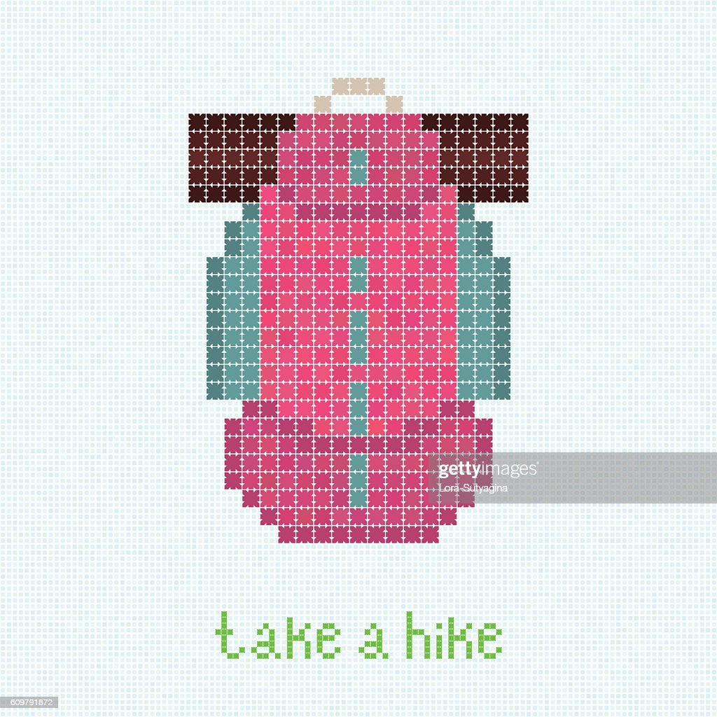 Take a Hike! Pixel art postcard with pink backpack