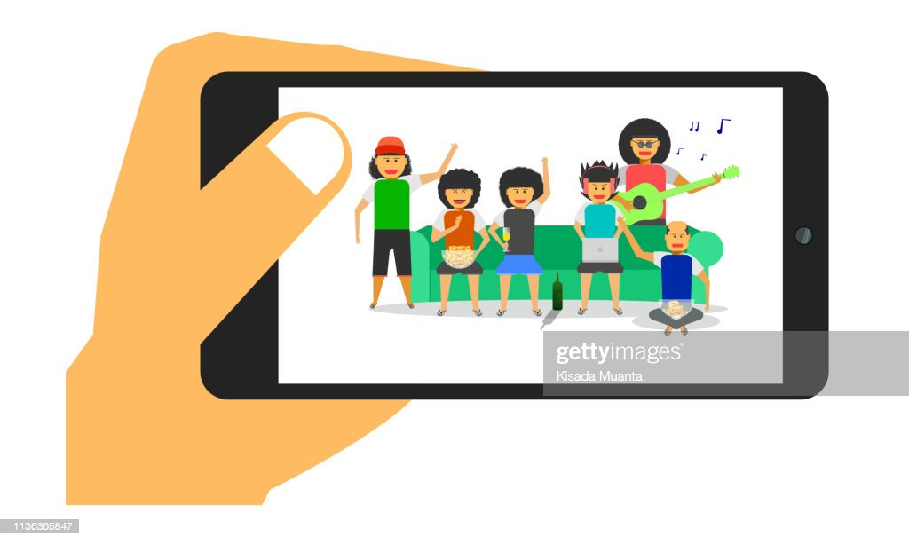 take a photo group boy man party friendship together sofa front-back view vector illustration ep10
