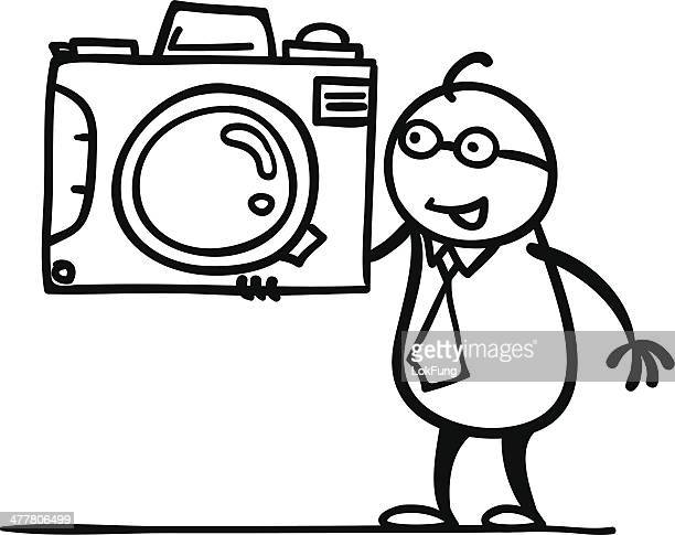 take a photo - camera stand stock illustrations, clip art, cartoons, & icons