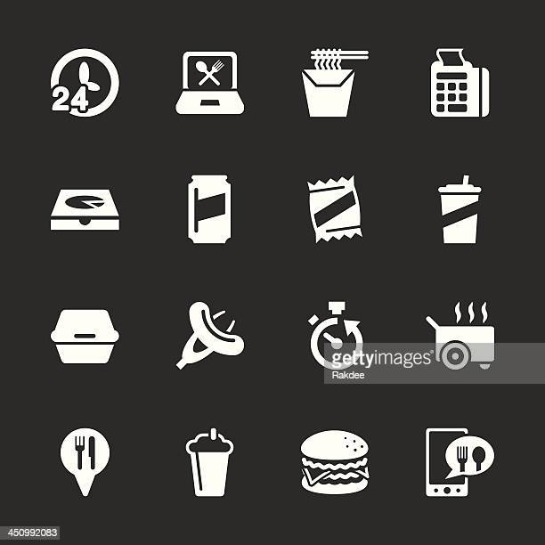 take out food icons - white series | eps10 - ordering stock illustrations, clip art, cartoons, & icons