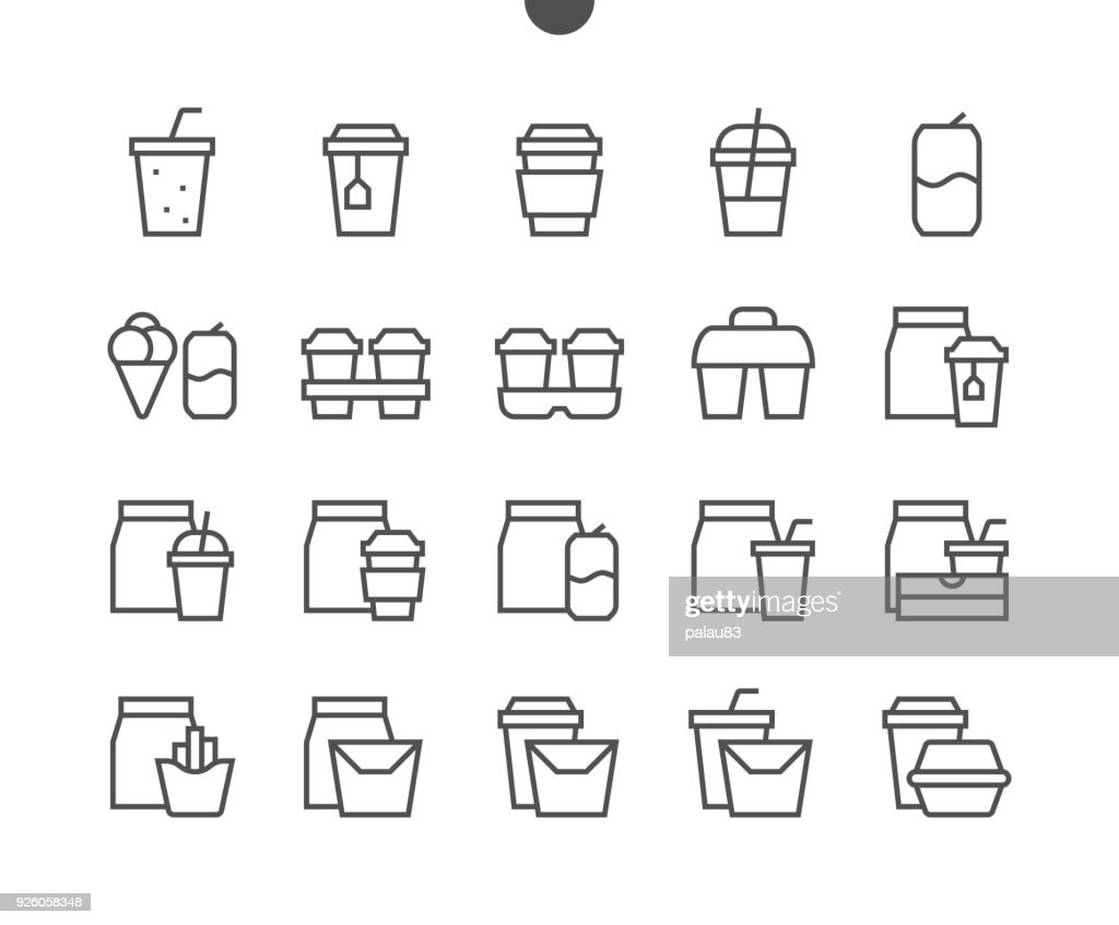 Take Out UI Pixel Perfect Well-crafted Vector Thin Line Icons 48x48 Ready for 24x24 Grid for Web Graphics and Apps with Editable Stroke. Simple Minimal Pictogram