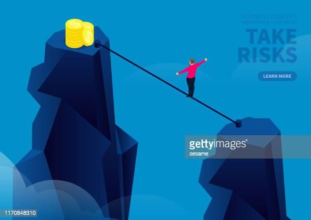 リスクを取り、崖の反対側にワイヤーロープを取り、金貨を拾う - 綱渡りのロープ点のイラスト素材/クリップアート素材/マンガ素材/アイコン素材