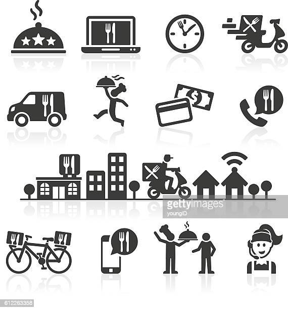 takeaway and online food delivery icons. - ordering stock illustrations, clip art, cartoons, & icons
