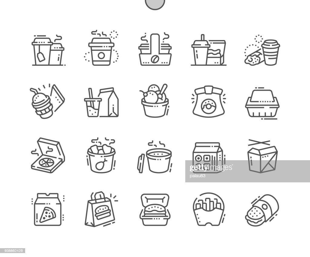 Takeaway Well-crafted Pixel Perfect Vector Thin Line Icons 30 2x Grid for Web Graphics and Apps. Simple Minimal Pictogram