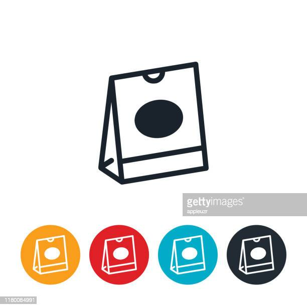 takeout bag icon - fast food stock illustrations