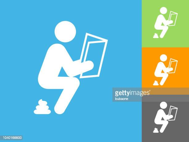 taking a dump  flat icon on blue background - defecating stock illustrations, clip art, cartoons, & icons