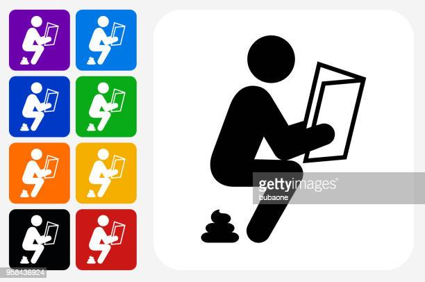 taking a dump icon square button set - defecating stock illustrations, clip art, cartoons, & icons