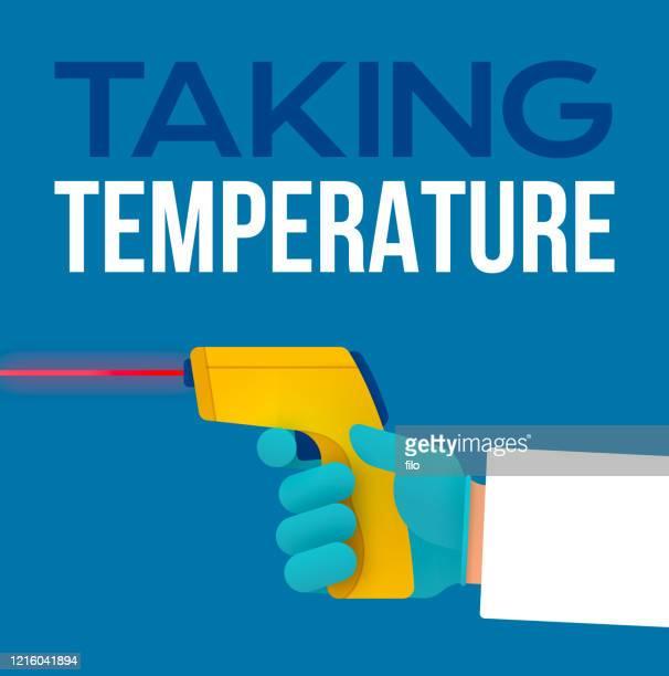 ハンドヘルドデジタル赤外線レーザー温度計を使用して温度を取る - digital thermometer点のイラスト素材/クリップアート素材/マンガ素材/アイコン素材