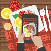 Taking Food Fotos. Hands Holding Smartphone And Taking Fotos Of Salmon Steak Vector Illustration