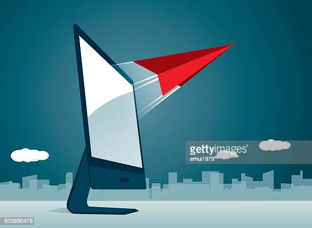 taking off, flying,  airplane,success, journey, paper airplane, pioneer - appearance stock illustrations
