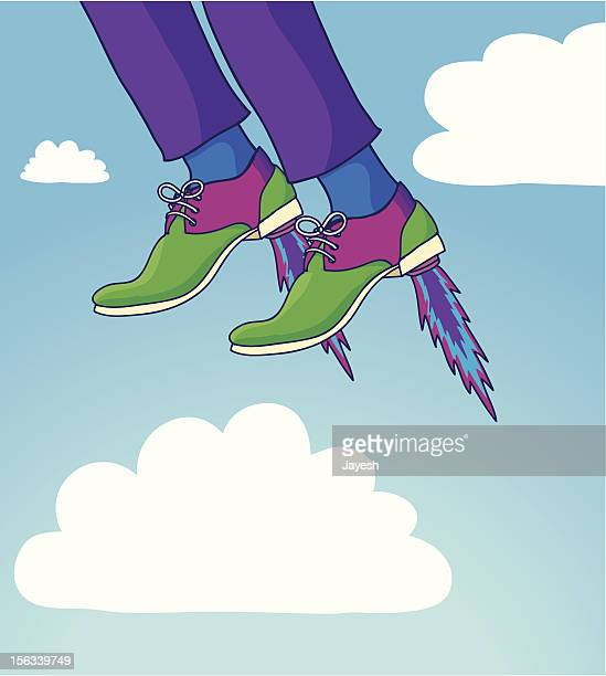 taking off in rocket shoes - eccentric stock illustrations