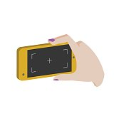Taking photo on smartphone symbol. Flat Isometric Icon. 3D Style Pictogram for Web Design, UI, Mobile App, Infographic.