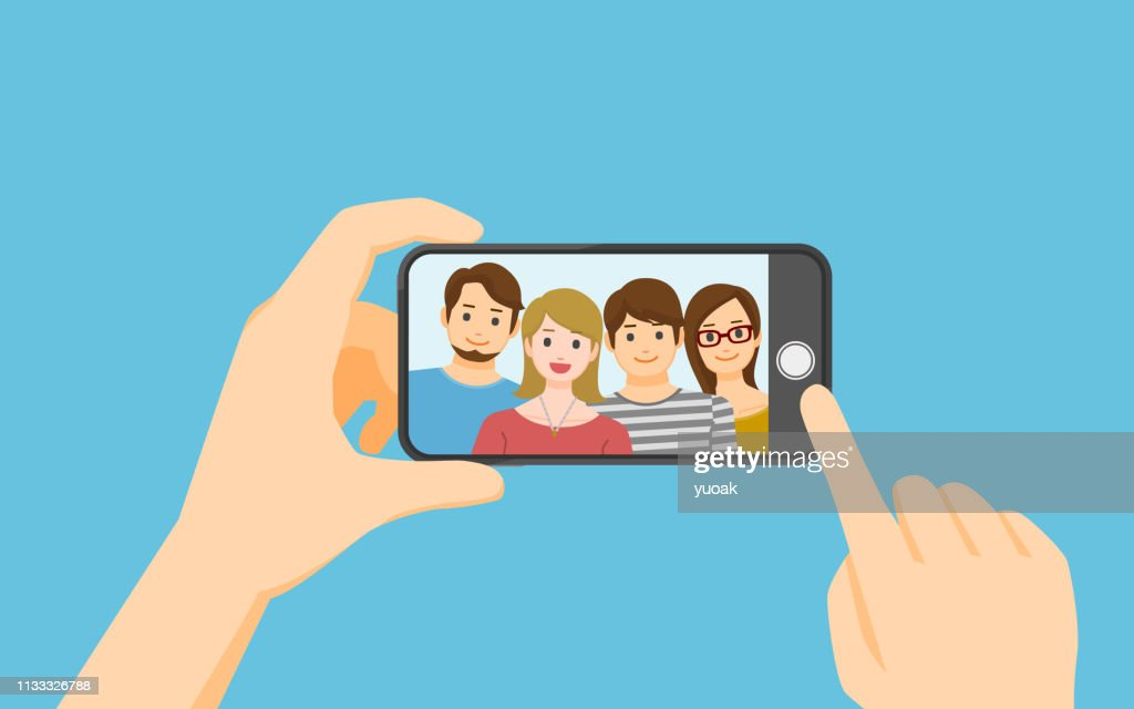Het nemen van foto op smartphone : Stockillustraties
