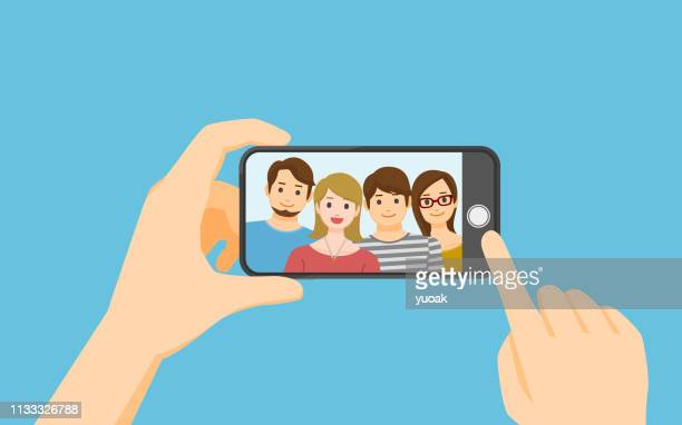 taking photo on smartphone - mobile phone stock illustrations