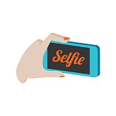 Taking selfie photo on smartphone symbol. Flat Isometric Icon. 3D Style Pictogram for Web Design, UI, Mobile App, Infographic.