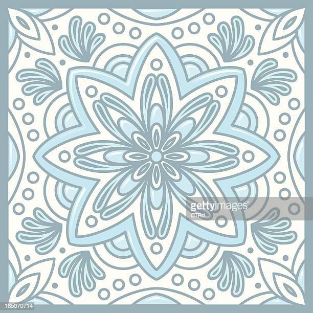 talavera tile, monochromatic - craft product stock illustrations